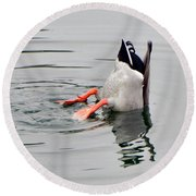Round Beach Towel featuring the photograph Bad Landing by Deb Halloran