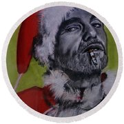 Bad Santa Round Beach Towel