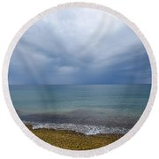 Round Beach Towel featuring the photograph Bad Weather Approaching At The Coast by Kennerth and Birgitta Kullman