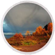 Round Beach Towel featuring the photograph Bad Weather Coming by Randi Grace Nilsberg