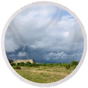 Round Beach Towel featuring the photograph Bad Weather Is Coming Up At  A Medieval Castle Ruin by Kennerth and Birgitta Kullman