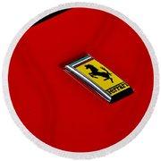 Badge In Red Round Beach Towel by Dean Ferreira