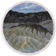 Badlands At Sunrise. Death Valley Round Beach Towel