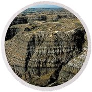 Badlands Round Beach Towel by Terry Reynoldson