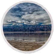 Badwater Reflection Round Beach Towel by Cat Connor