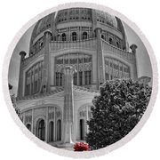 Bahai Temple Wilmette In Black And White Round Beach Towel