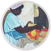 Bahamian Woman Weaving Round Beach Towel by Frank Hunter
