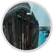 Bahia Honda Bridge Patterns Round Beach Towel