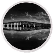 Bahia Honda Bridge Reflection Round Beach Towel