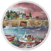 Bailey Island Cribstone Bridge Round Beach Towel