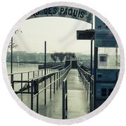 Round Beach Towel featuring the photograph Bains Des Paquis by Muhie Kanawati