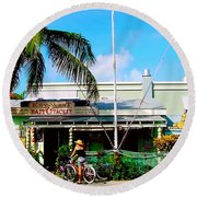 Bait And Tackle Key West Round Beach Towel by Iconic Images Art Gallery David Pucciarelli