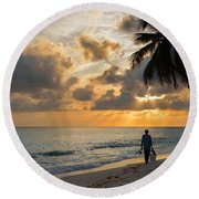 Round Beach Towel featuring the photograph Bajan Fisherman by Garvin Hunter