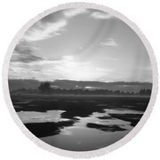 Round Beach Towel featuring the photograph Bakersfield In Black And White by Meghan at FireBonnet Art