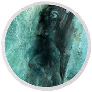 Round Beach Towel featuring the drawing Balance With Mood Texture by Paul Davenport