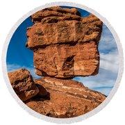 Balanced Rock Garden Of The Gods Round Beach Towel by Paul Freidlund