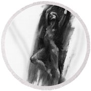 Round Beach Towel featuring the drawing A Dance Of Balance by Paul Davenport