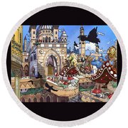 Balcony Of Princess Jasmine Round Beach Towel by Reynold Jay