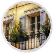 French Quarter Balcony Round Beach Towel by Valerie Reeves
