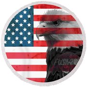 Bald Eagle American Flag Round Beach Towel