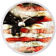 Round Beach Towel featuring the photograph Bald Eagle Bursting Thru Flag by Eleanor Abramson