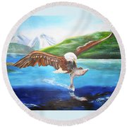 Round Beach Towel featuring the painting Bald Eagle Having Dinner by Thomas J Herring