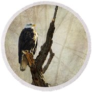 Bald Eagle Keeping Watch In Illinois Round Beach Towel