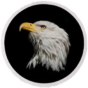 Bald Eagle Looking Skyward Round Beach Towel