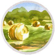 Round Beach Towel featuring the painting Bales In The Morning Sun by Kip DeVore