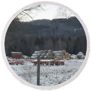 Round Beach Towel featuring the photograph Bales Of Hay by Brenda Brown