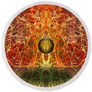 Round Beach Towel featuring the digital art Ball And Strings by Otto Rapp