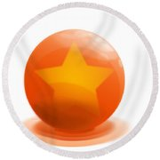 Round Beach Towel featuring the sculpture orange Ball decorated with star white background by R Muirhead Art