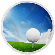 Ball On Tee On Green Golf Field Round Beach Towel