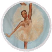 Round Beach Towel featuring the painting Ballerina by Marisela Mungia