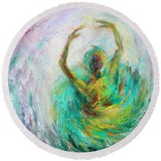 Round Beach Towel featuring the painting Ballerina by Xueling Zou