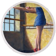 Ballet Dancer Warm Up Round Beach Towel