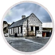Ballintoy Stone House Round Beach Towel by Nina Ficur Feenan
