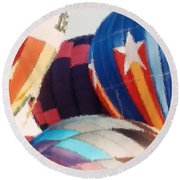 Balloon Brush Strokes Round Beach Towel by Belinda Lee