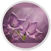 Round Beach Towel featuring the photograph Balloon Flowers by Ann Lauwers