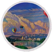 Ballooning On The Rio Grande Round Beach Towel