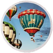 Round Beach Towel featuring the photograph Balloons Away by Dave Files