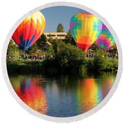 Round Beach Towel featuring the photograph Balloons Over Bend Oregon by Kevin Desrosiers