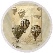 Balloons With Sepia Round Beach Towel