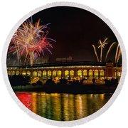 Ballpark Fireworks Round Beach Towel