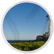 Baltic Sea Lighthouse Round Beach Towel
