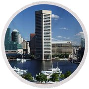 Baltimore Inner Harbor Panorama Round Beach Towel
