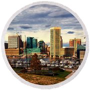 Baltimore Inner Harbor Skyline Panorama Round Beach Towel