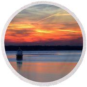 Baltimore Light At Gibson Island Round Beach Towel