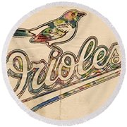 Baltimore Orioles Stylish Logo Round Beach Towel