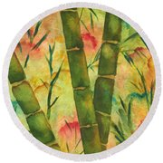 Bamboo Garden Round Beach Towel by Chrisann Ellis
